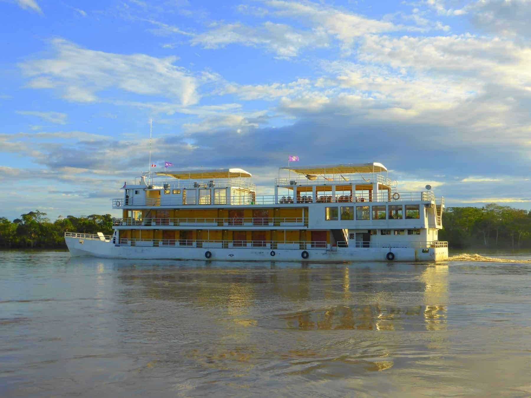 The riverboat Queen Violeta cruising along the River Amazon in Peru.