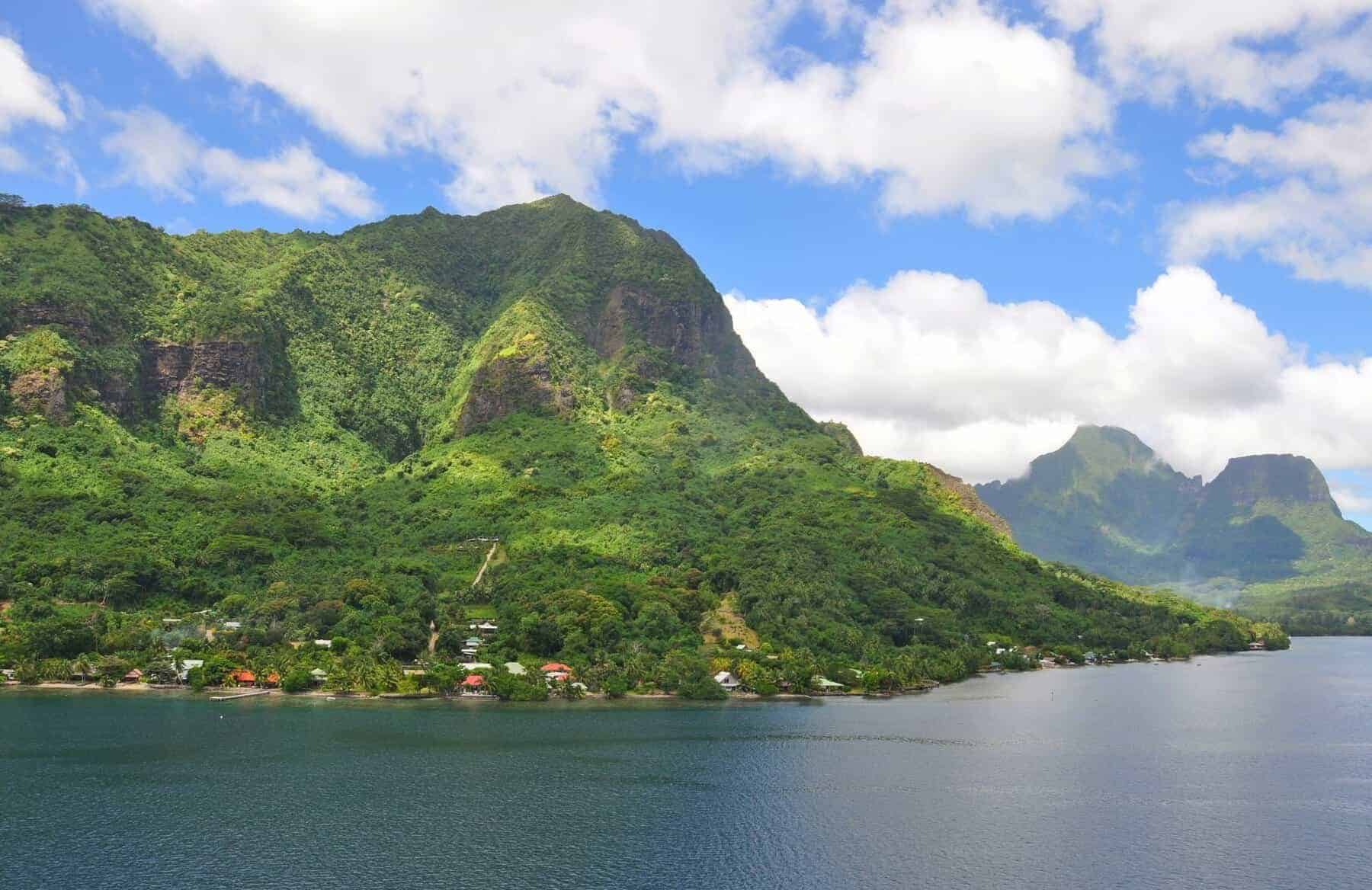 Tahiti islands landscape seing from cruise ship during sailing