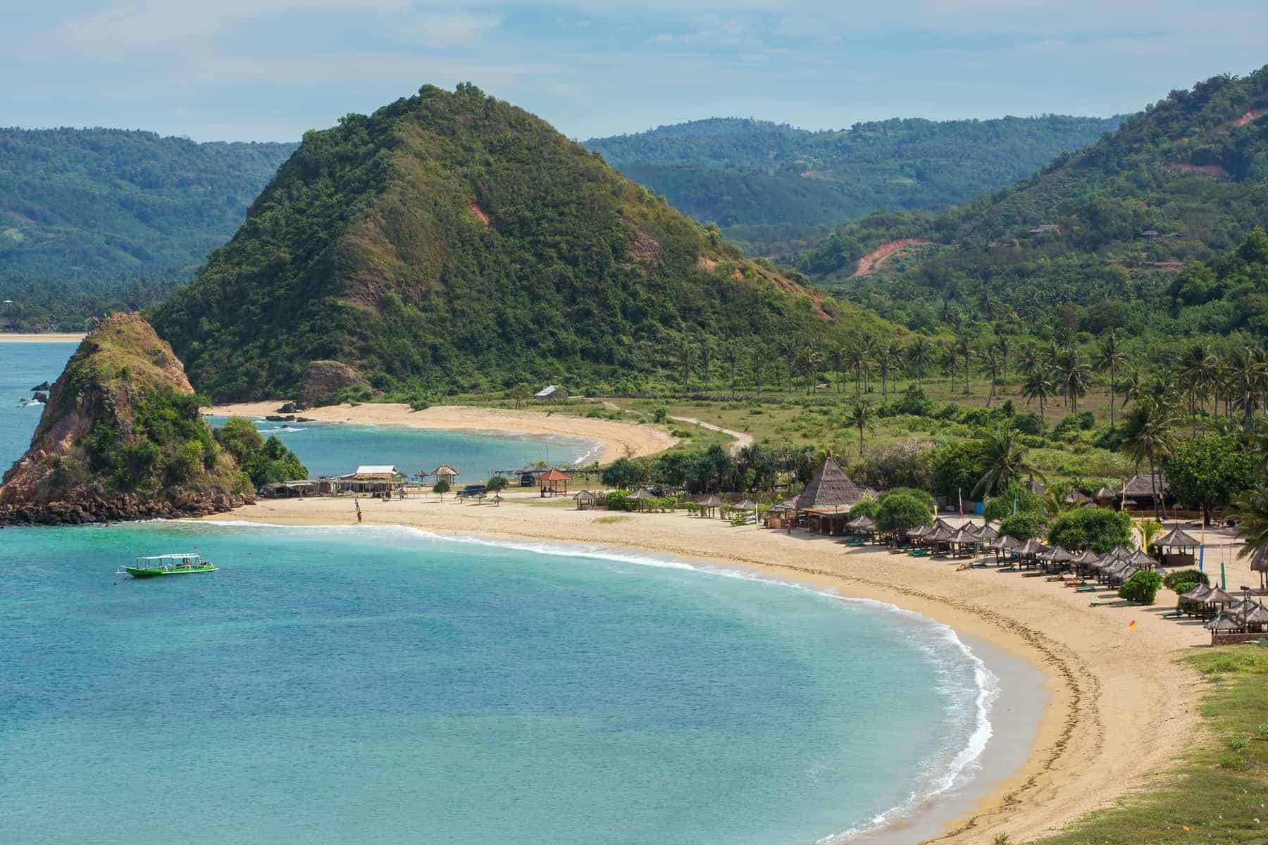 Tropical resort on Kuta sand beach, Lombok, Indonesia