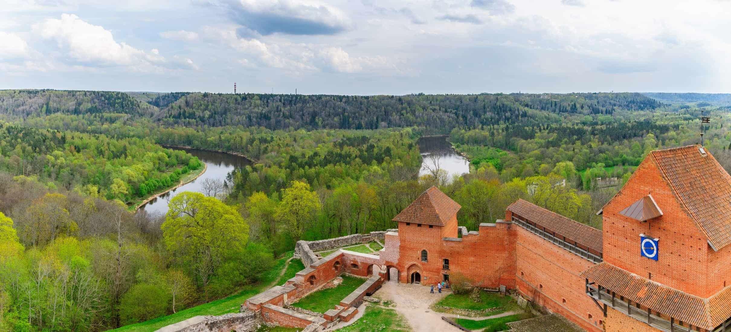 Bird view on Turaida castle and springtime Gauja river valley in Sigulda, Latvia