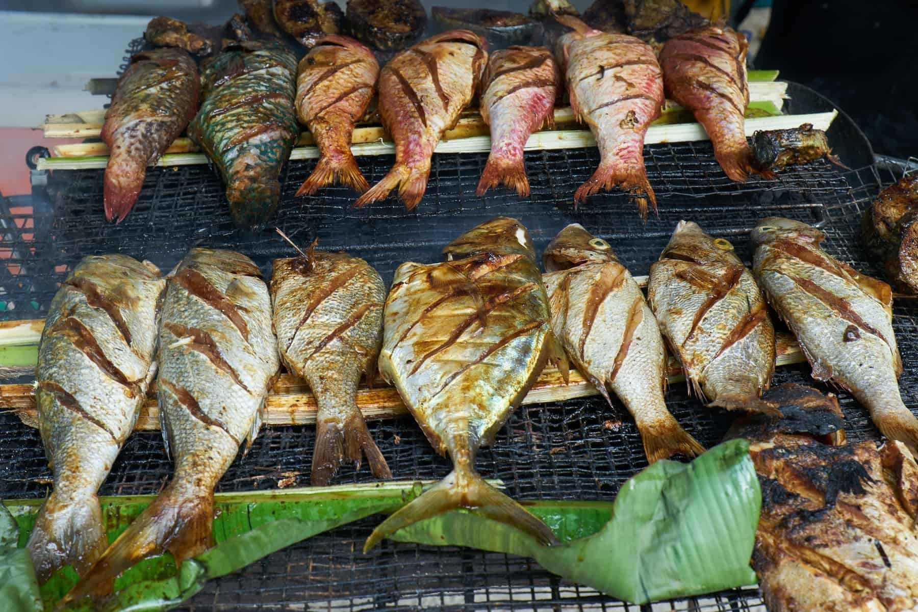 Grilled fresh seafood in local market, Mahé - Seychelles Island