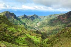Cape-verde. lush green mountains