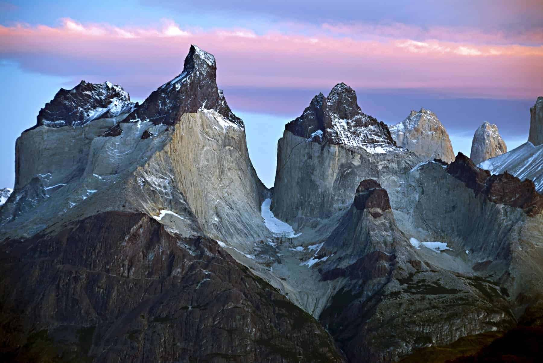 The Cuernos del Paine in Torres del Paine National Park, Chile, at sunrise
