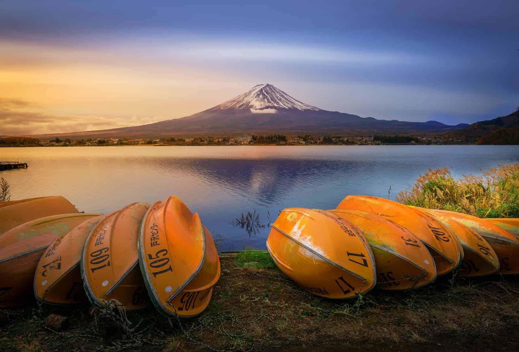 Mount Fuji and Lake Shojiko at sunrise in Japan