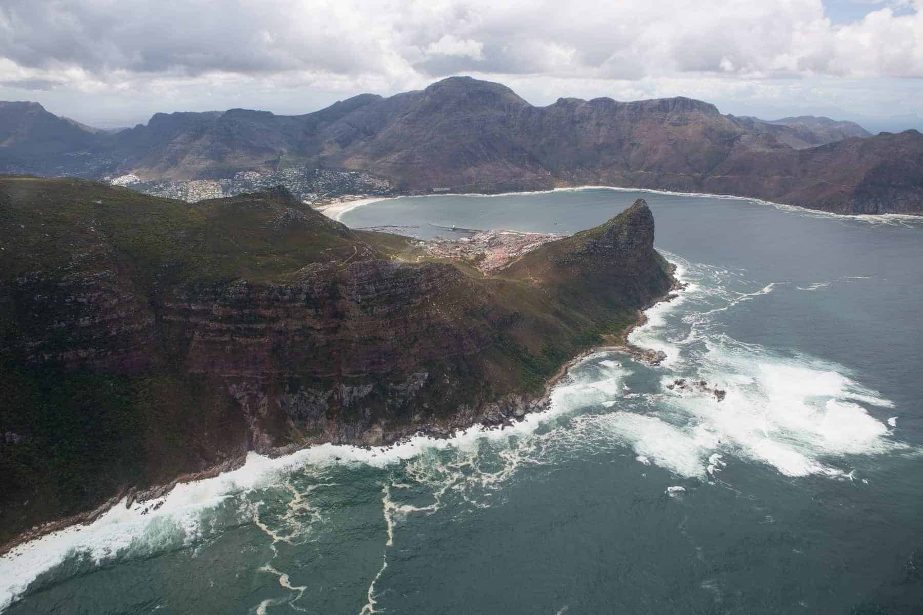 Cape Town south Africa view from helicopter peninsula atlantic ocean view