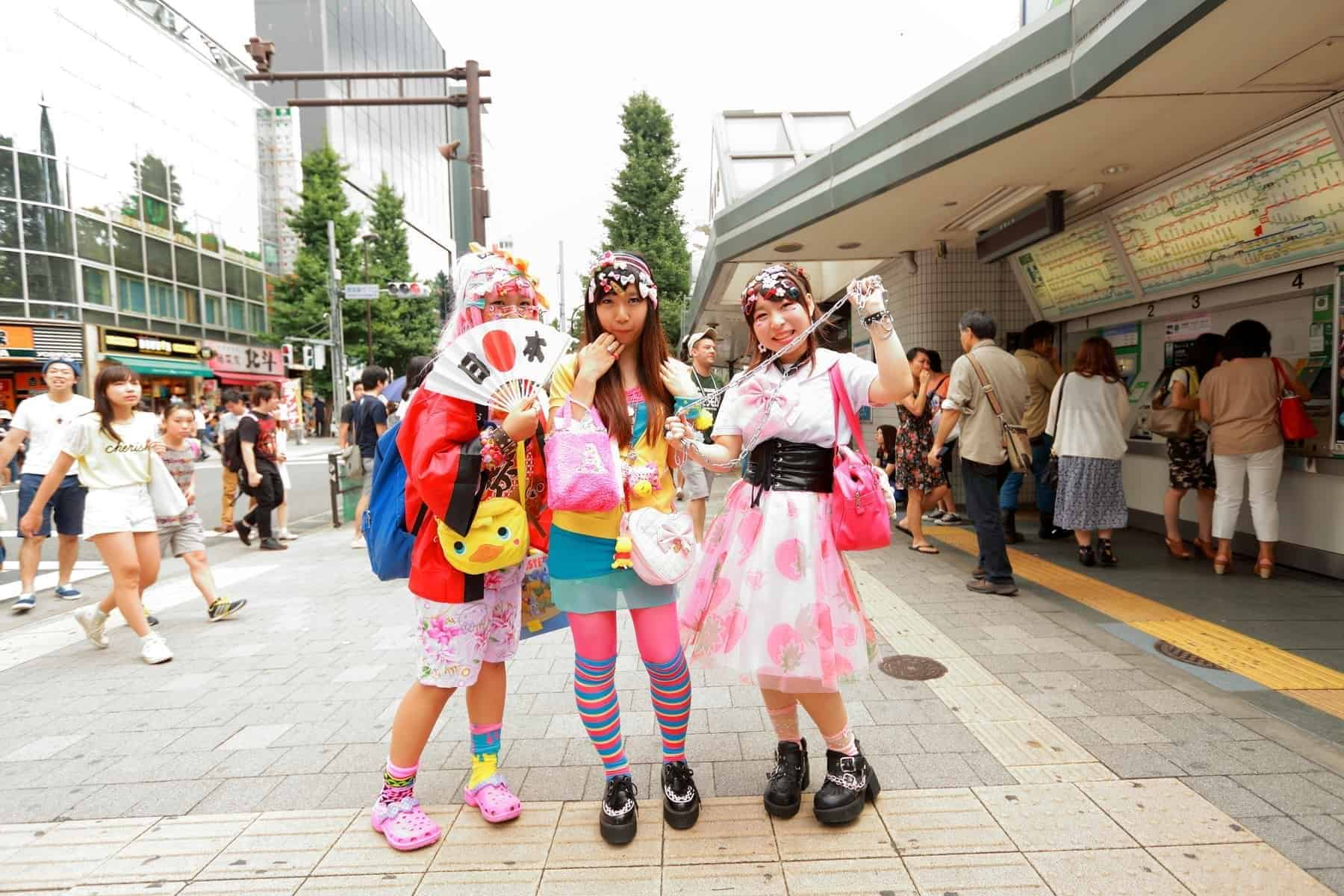 Every Sunday each week, teens and young adults meet in Harajuku to show off a variety of clothing styles in Tokyo, Japan. Also known as Harajuku fashion.