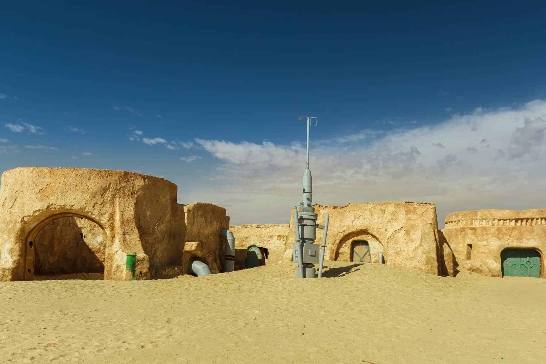 NEFTA TUNISIA - SEP 19 Original movie scenery for Star Wars A New Hope near Nefta city in the Sahara desert Tunisia September 19 2016