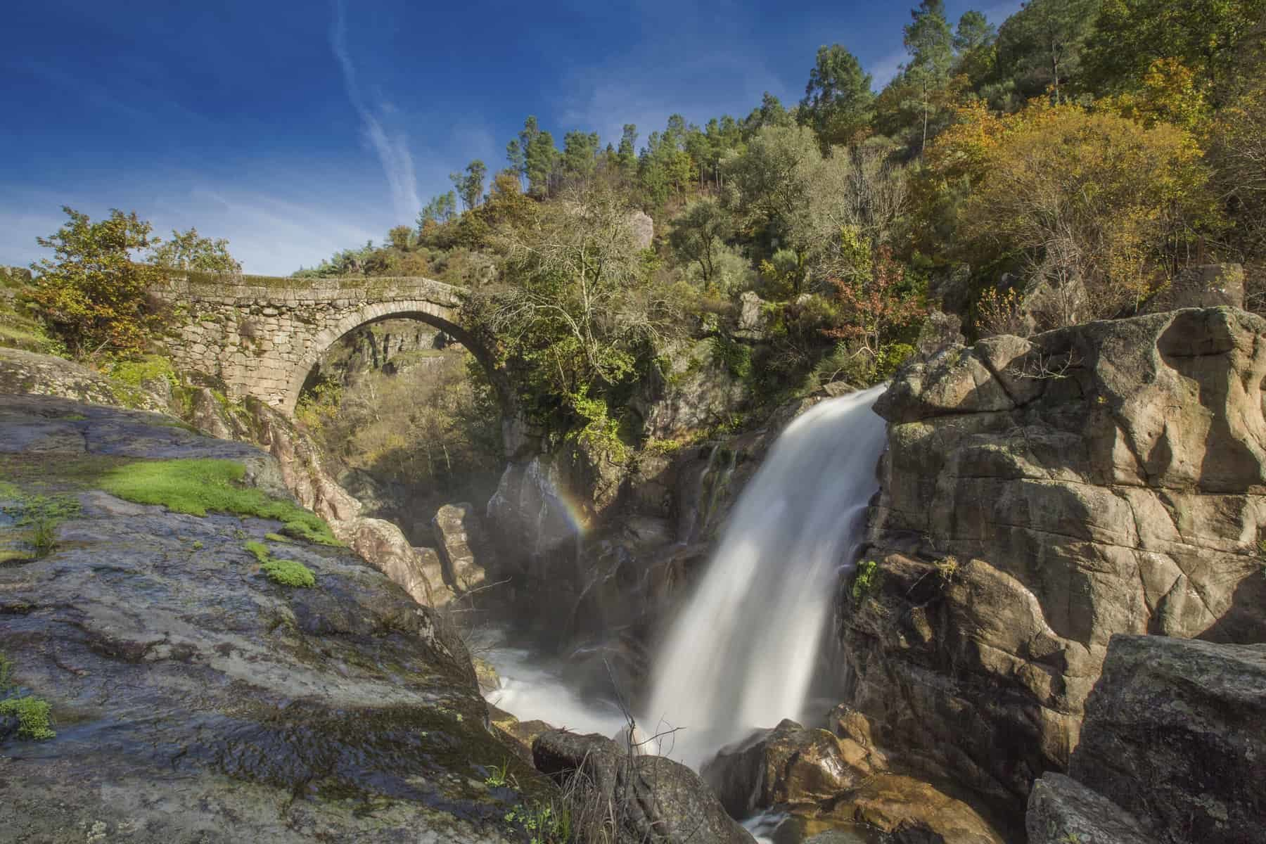 Misarela Bridge aka Ponte da Misarela in Gerês, Portugal. Devil´s bridge aka Ponte do Diabo, Mizarela.