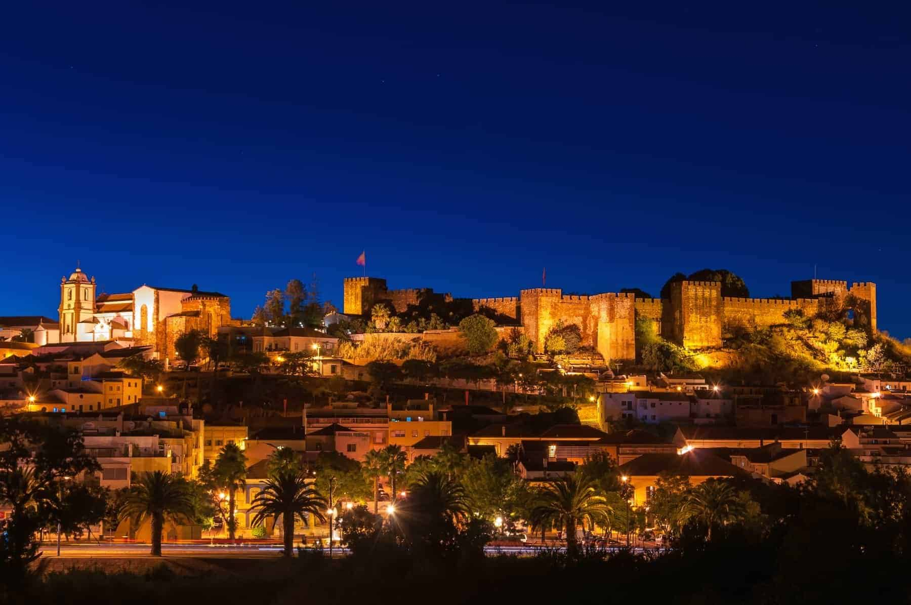 Panoramic view of Silves by night, Algarve, Portugal