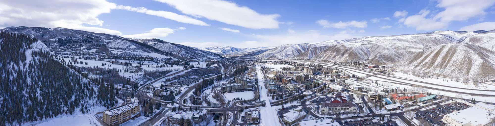 Beaver Creek, Avon Colorado USA Winter Panoramic View Ski Resort Town Snowy Mountain Peaks