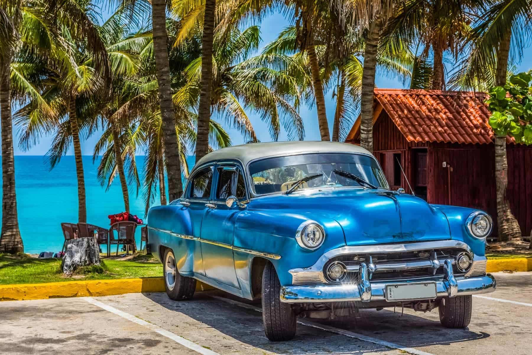 Varadero, Cuba - American blue Chevrolet classic car with silver roof parked on the beach in Varadero Cuba - Serie Cuba Reportage