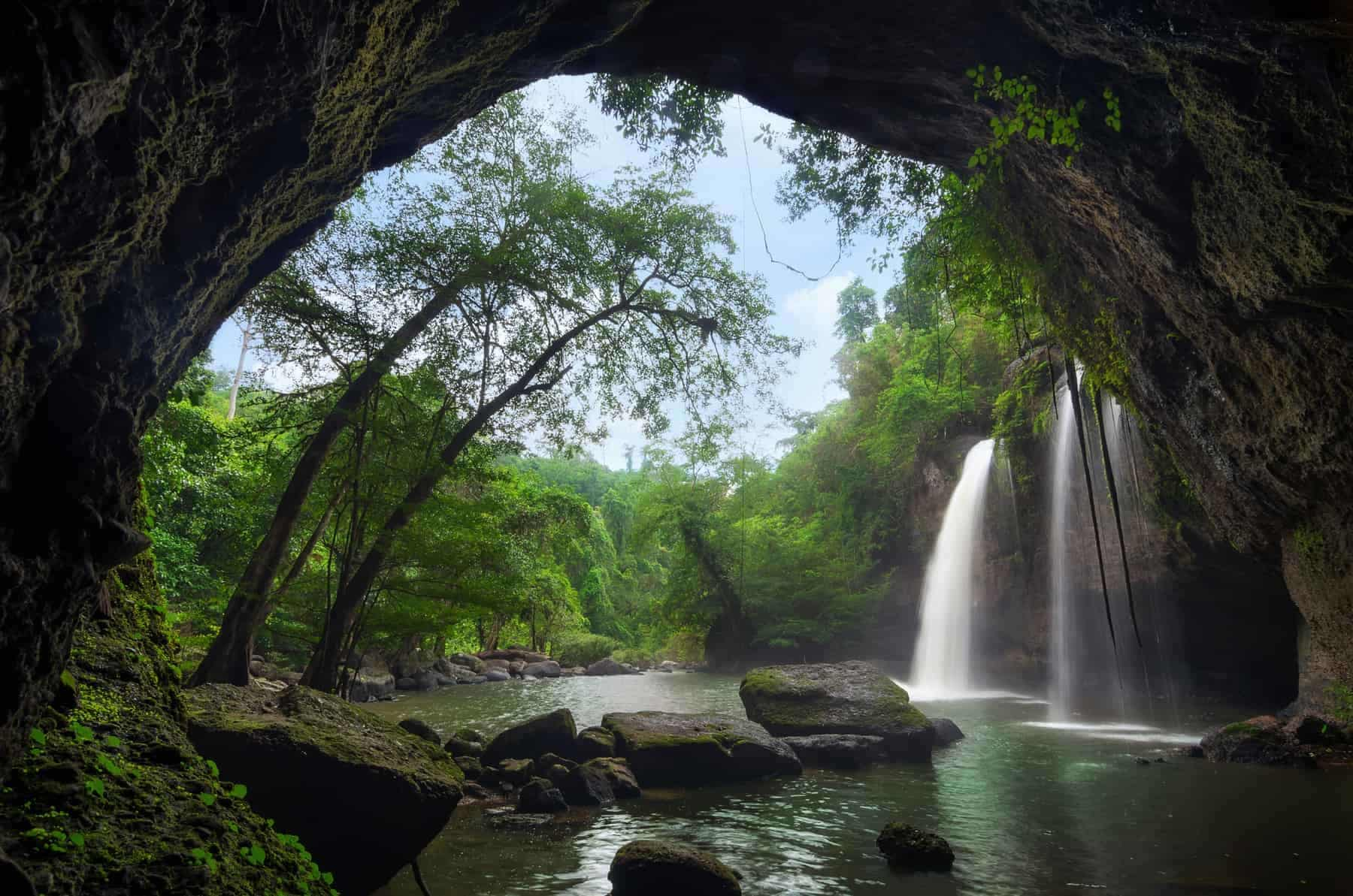 Cave in Heo Suwat Waterfall Khao Yai National Park in Thailand