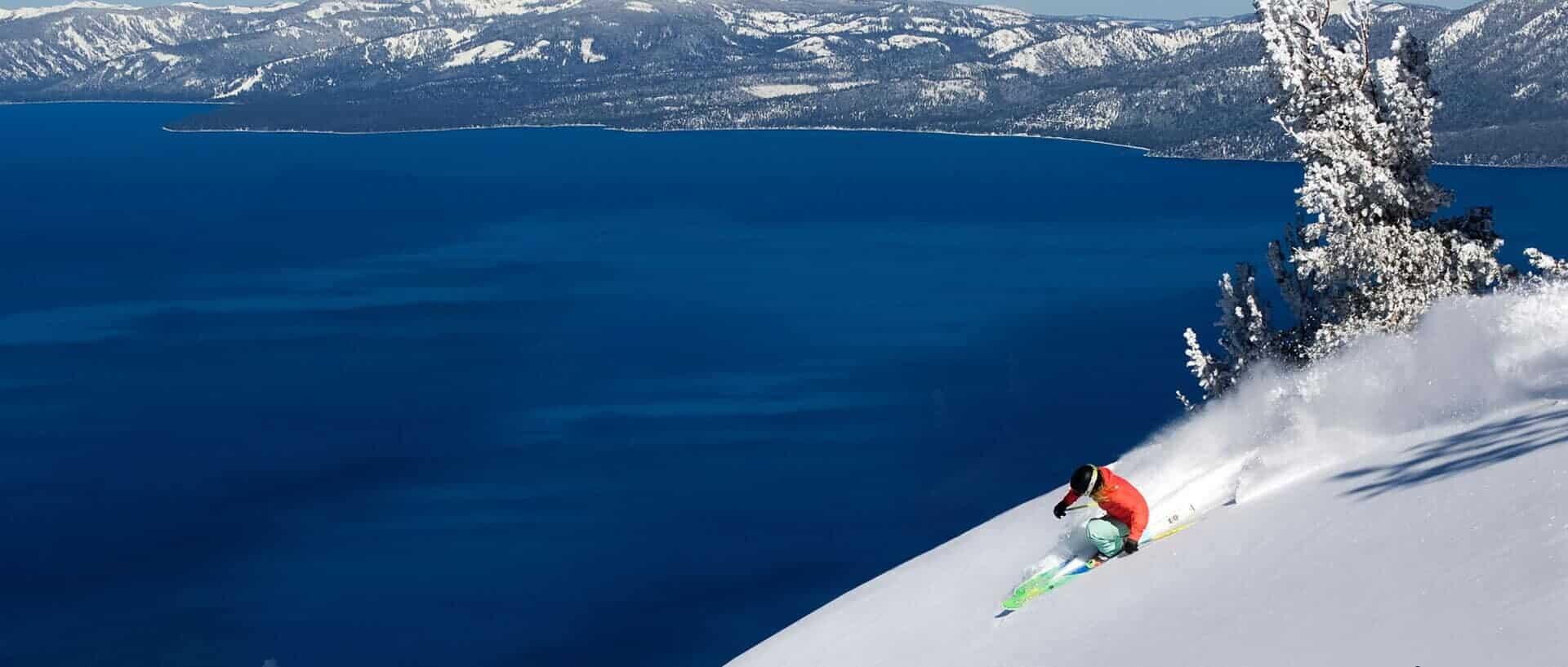 Lake Tahoe, USA ski near lake