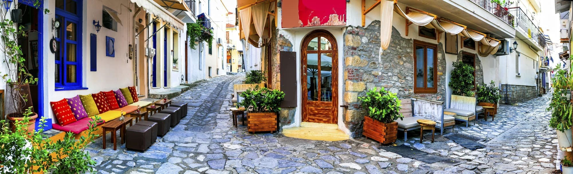Traditional colorful Greece - charming old streets of Skiathos t