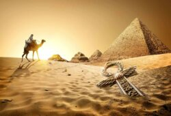 Egypt. Pyramids and ankh