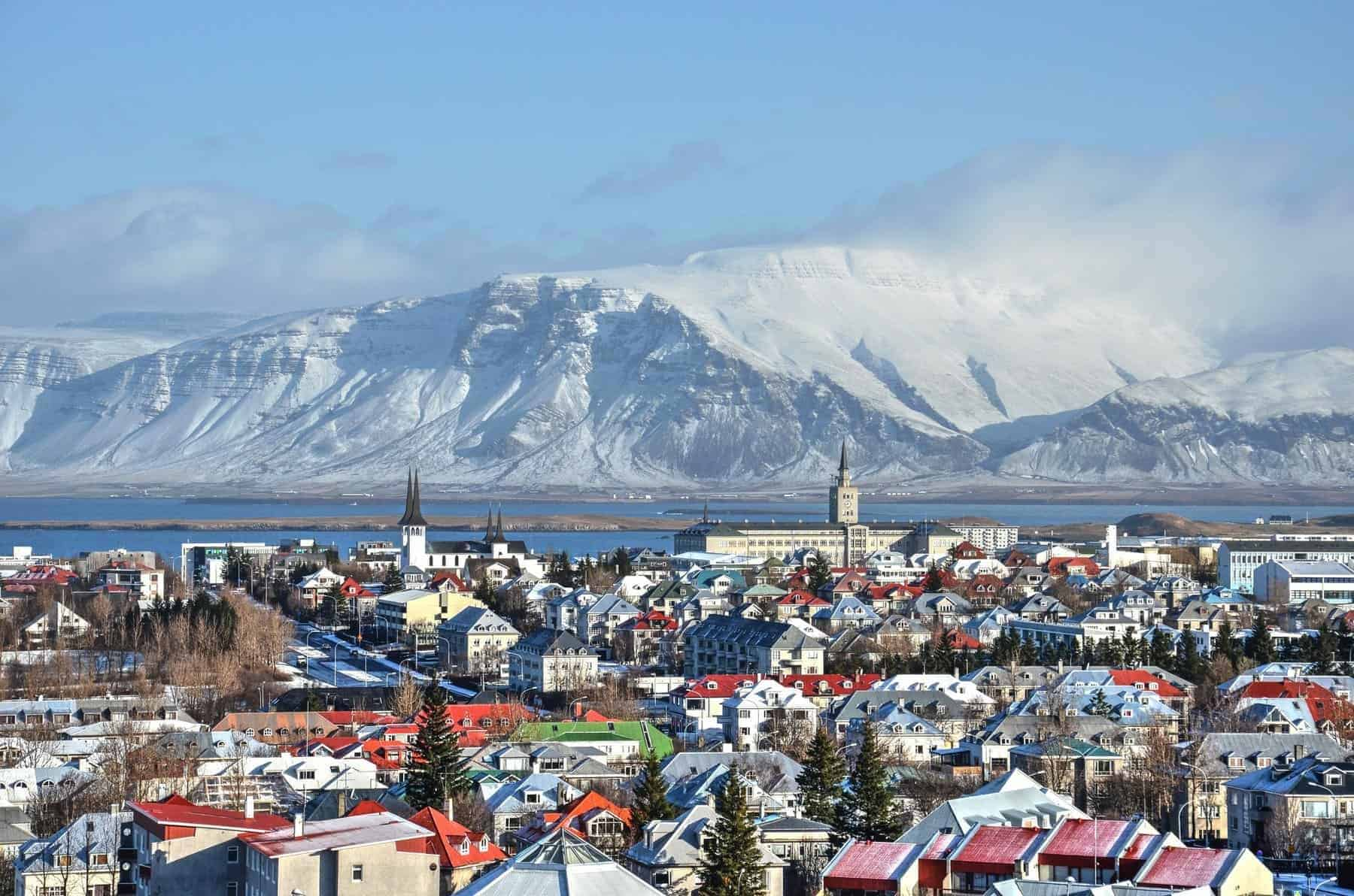 Reykjavik, Iceland, Colorful roofs and the ocean and mountains