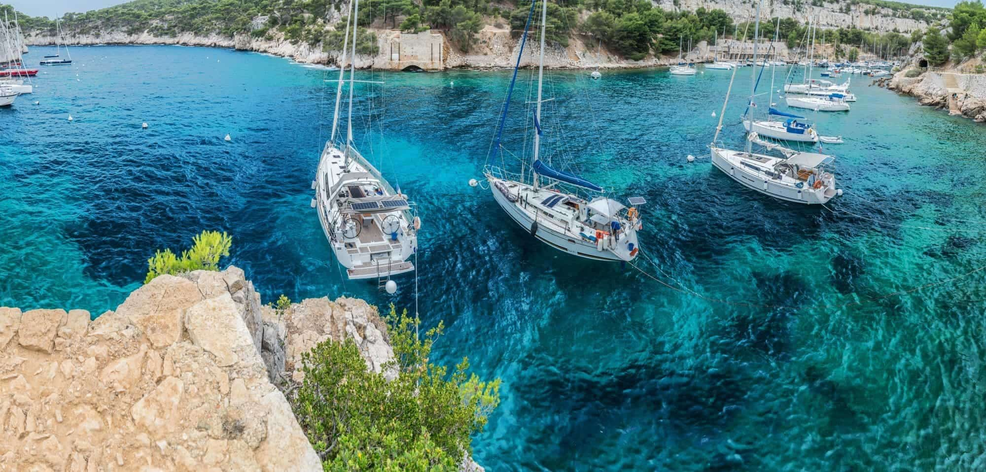 Sailing, Port-Miou calanque in Cassis. France. '