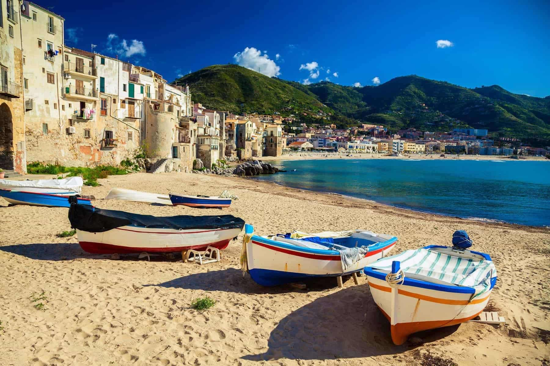 Sicily, Italy, Old beach in Cefalu with fishing boats