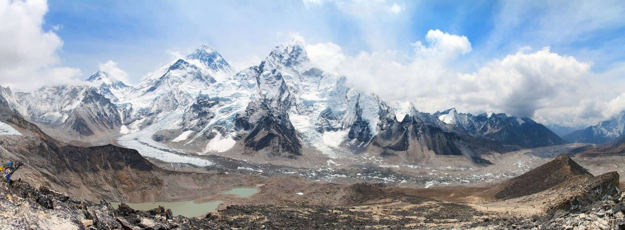 panoramic view of Mount Everest with beautiful sky and Khumbu Glacier - way to Everest base camp, Khumbu valley, Sagarmatha national park, Nepal. Biggest mountains in asia