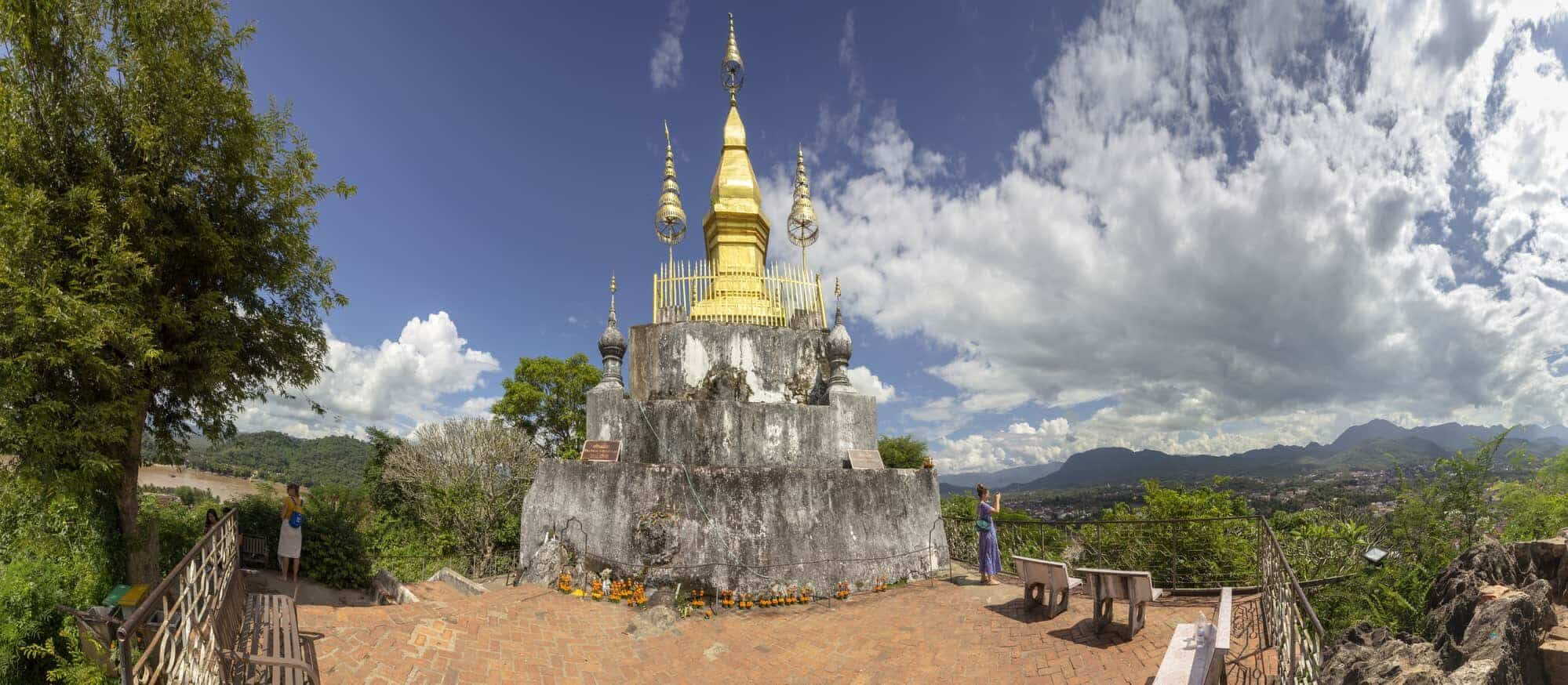 The golden stupa on the top of Mount Phou Si in Luang Prabang, Laos.