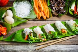 Vietnamese food: Spring rolls with vegetables and chicken. Spring rolls with vegetables and chicken