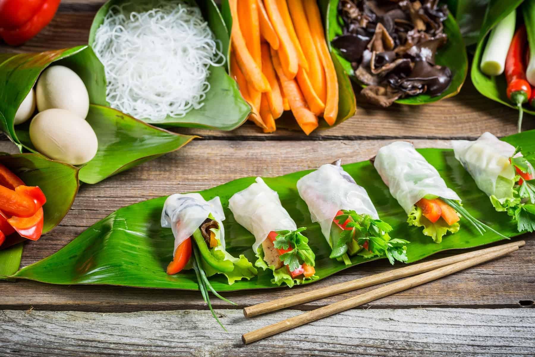Vietnamese food: Spring rolls with vegetables and chicken. Spring rolls with vegetables and chicken