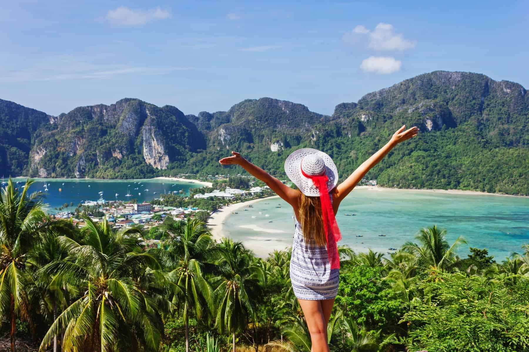 Girl at the resort in the bays of the island of Phi Phi Don