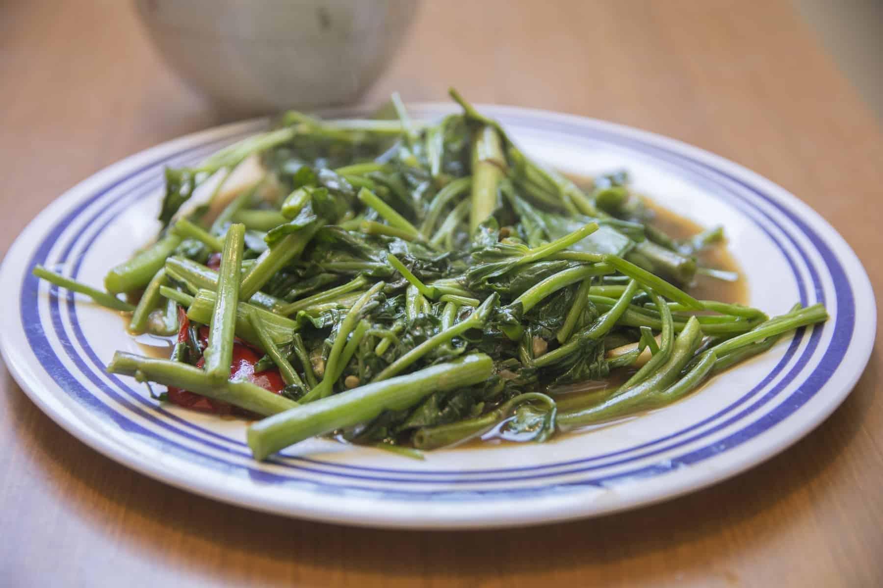 Pad Pak Boong, a traditional Thai dish, stir fried Morning Glory