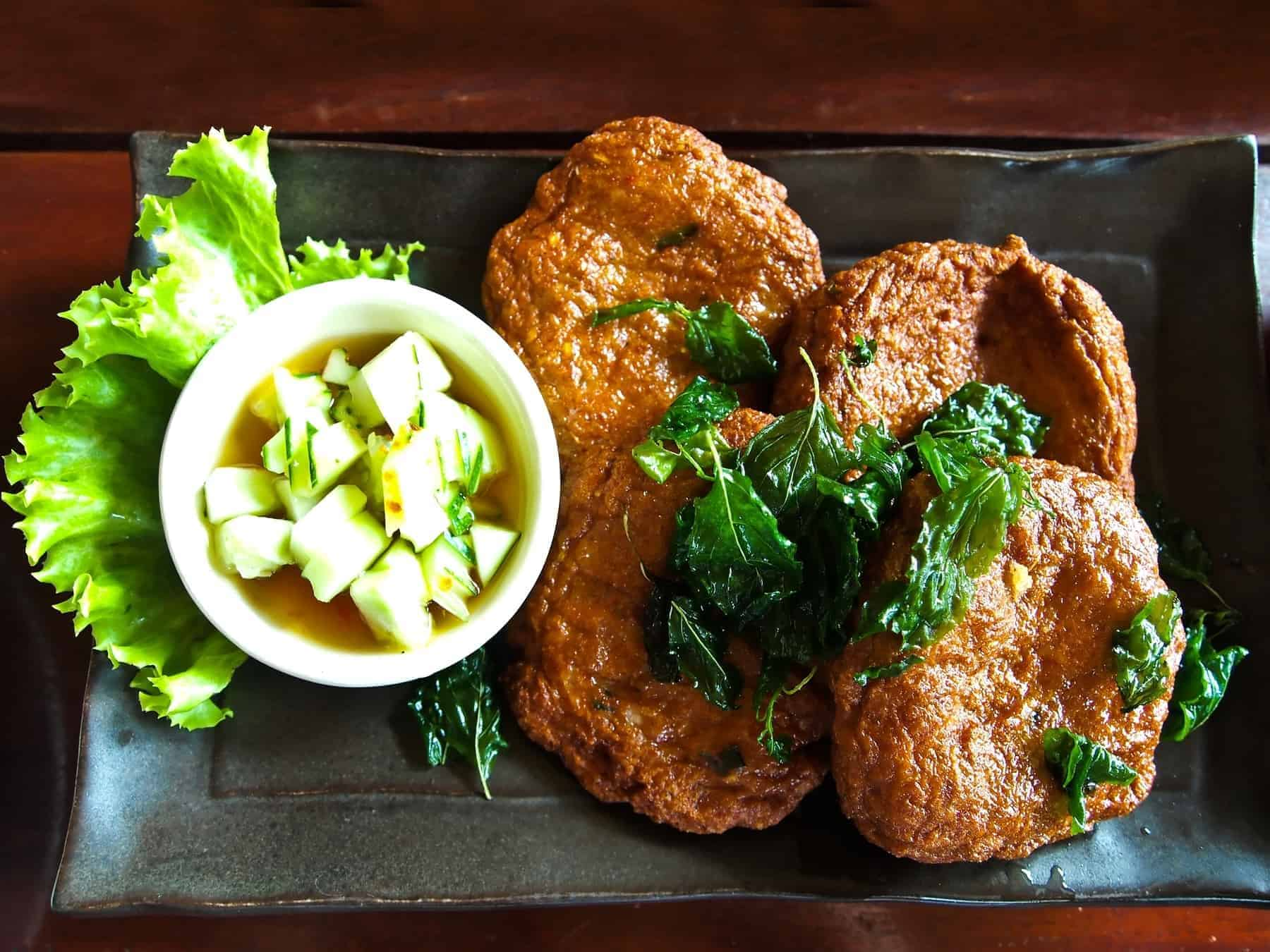Thai Food Fish Cake (Tod Mun Pla Krai) , traditional thai cuisine, shallow depth of field