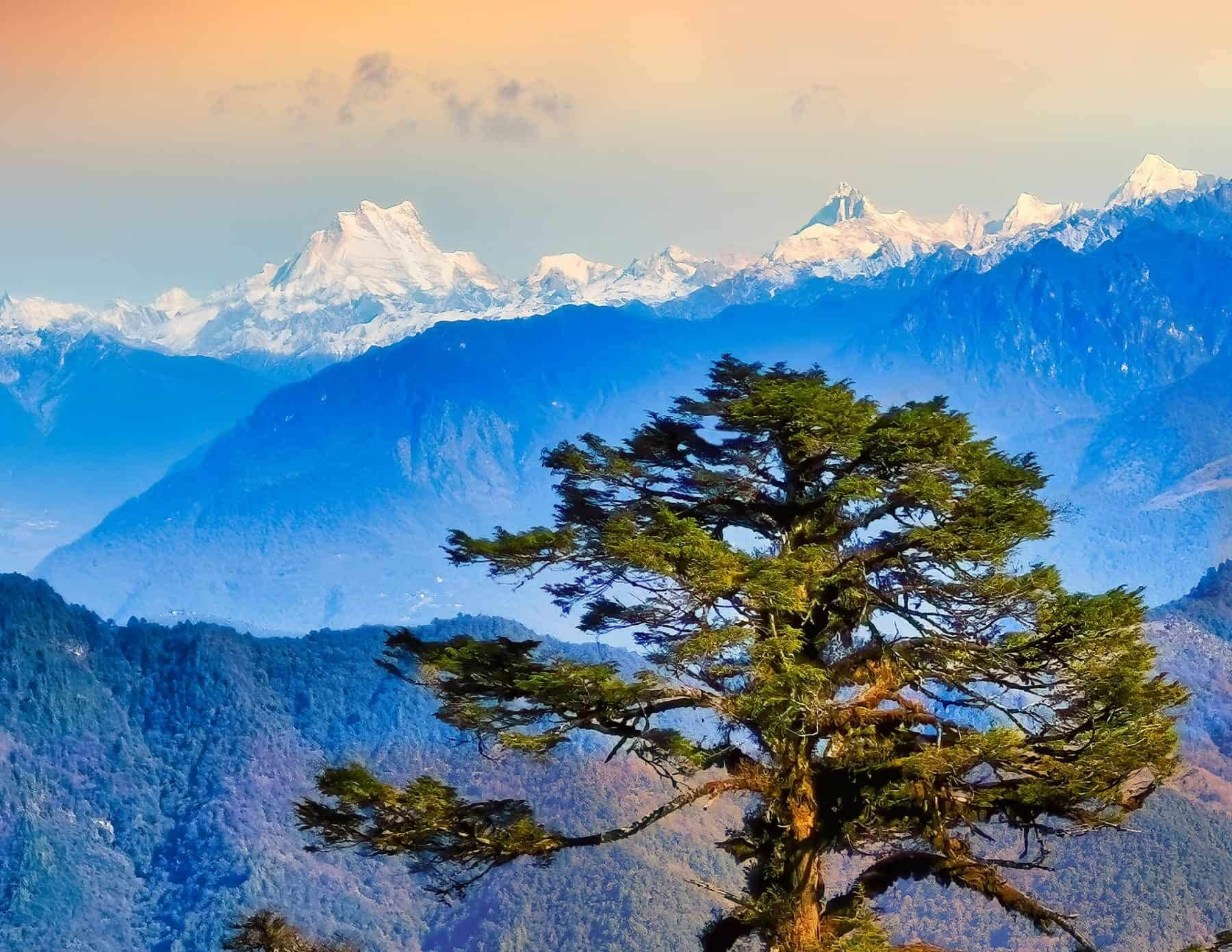 Gangkhar Puensum, the highest peak of Bhutan at dawn.