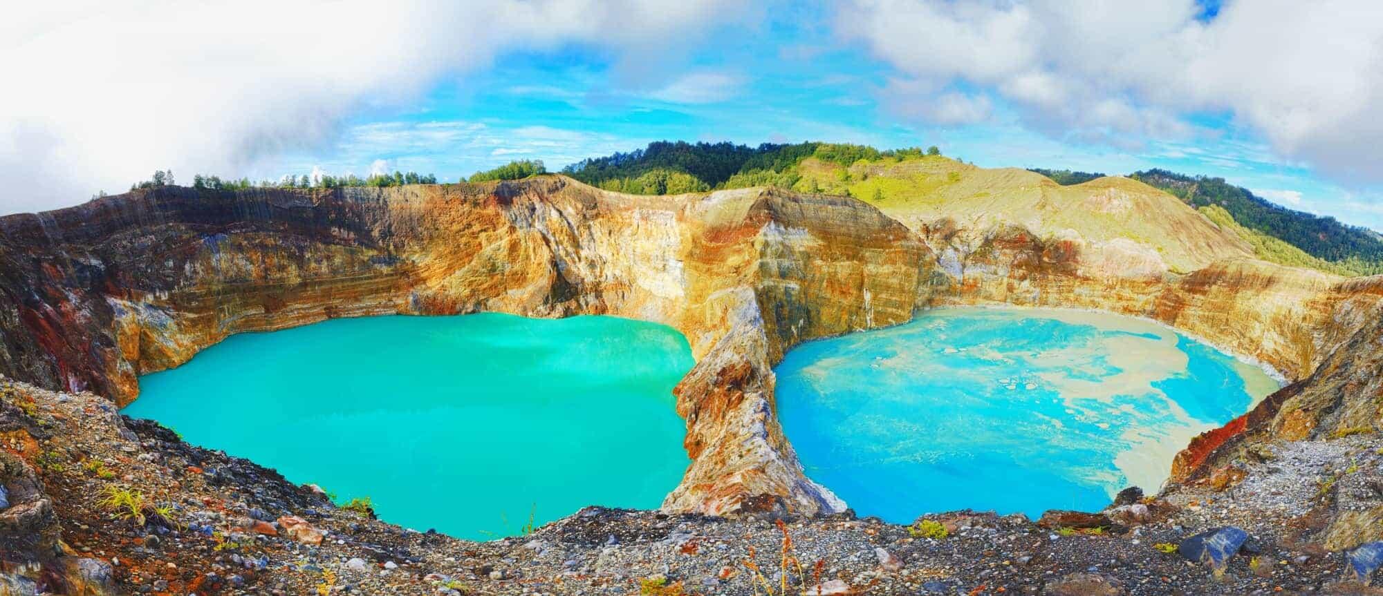 Volcanic lakes Ato Polo and Nuamuri koofai . National park Kelimutu.