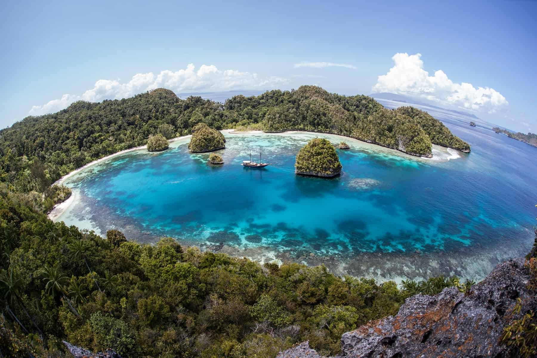 Raja Ampat, Indonesia, surrounded by limestone islands