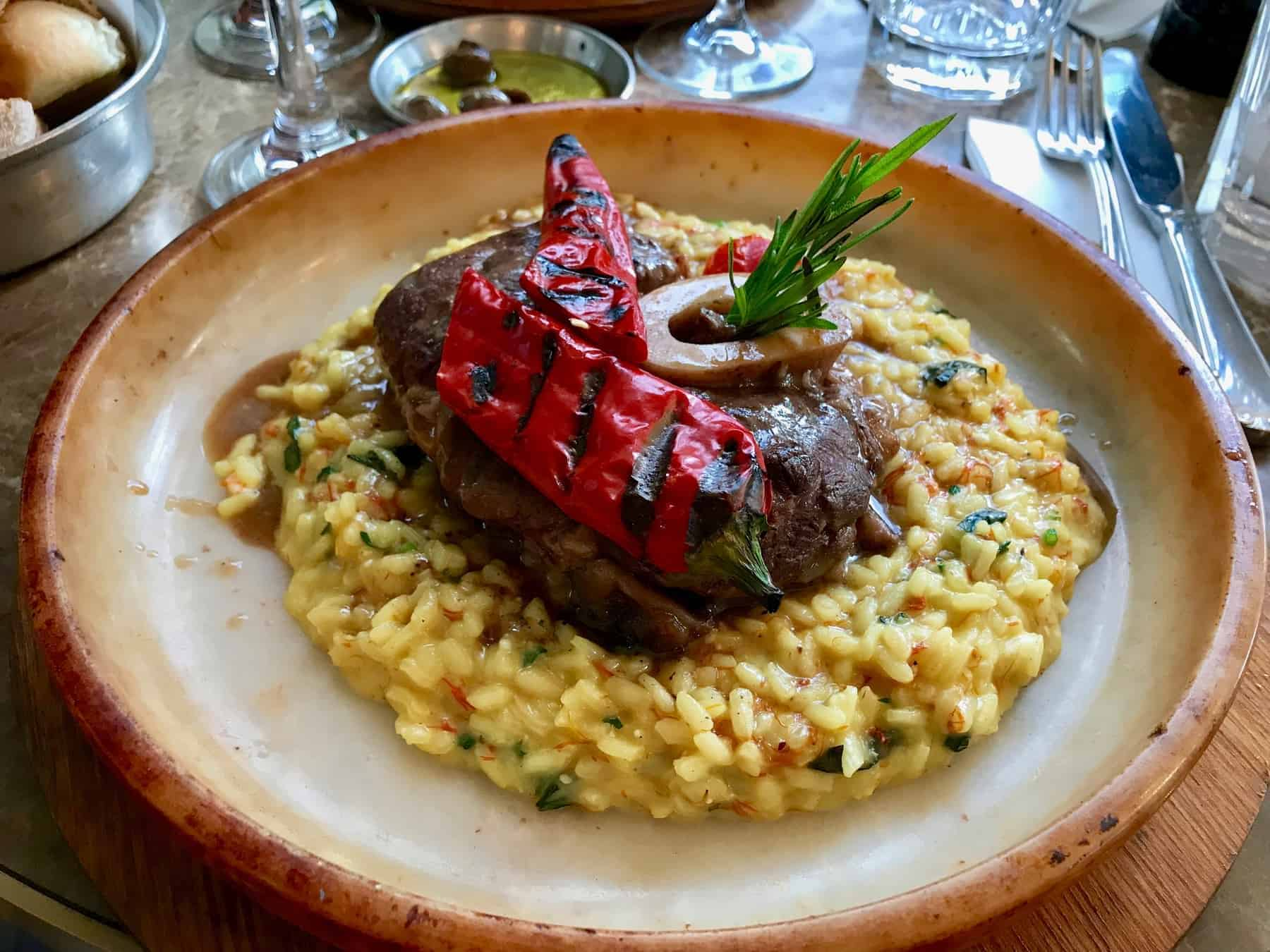 Osso Buco, Veal Shanks that are Braised in Wine with Saffron Rice