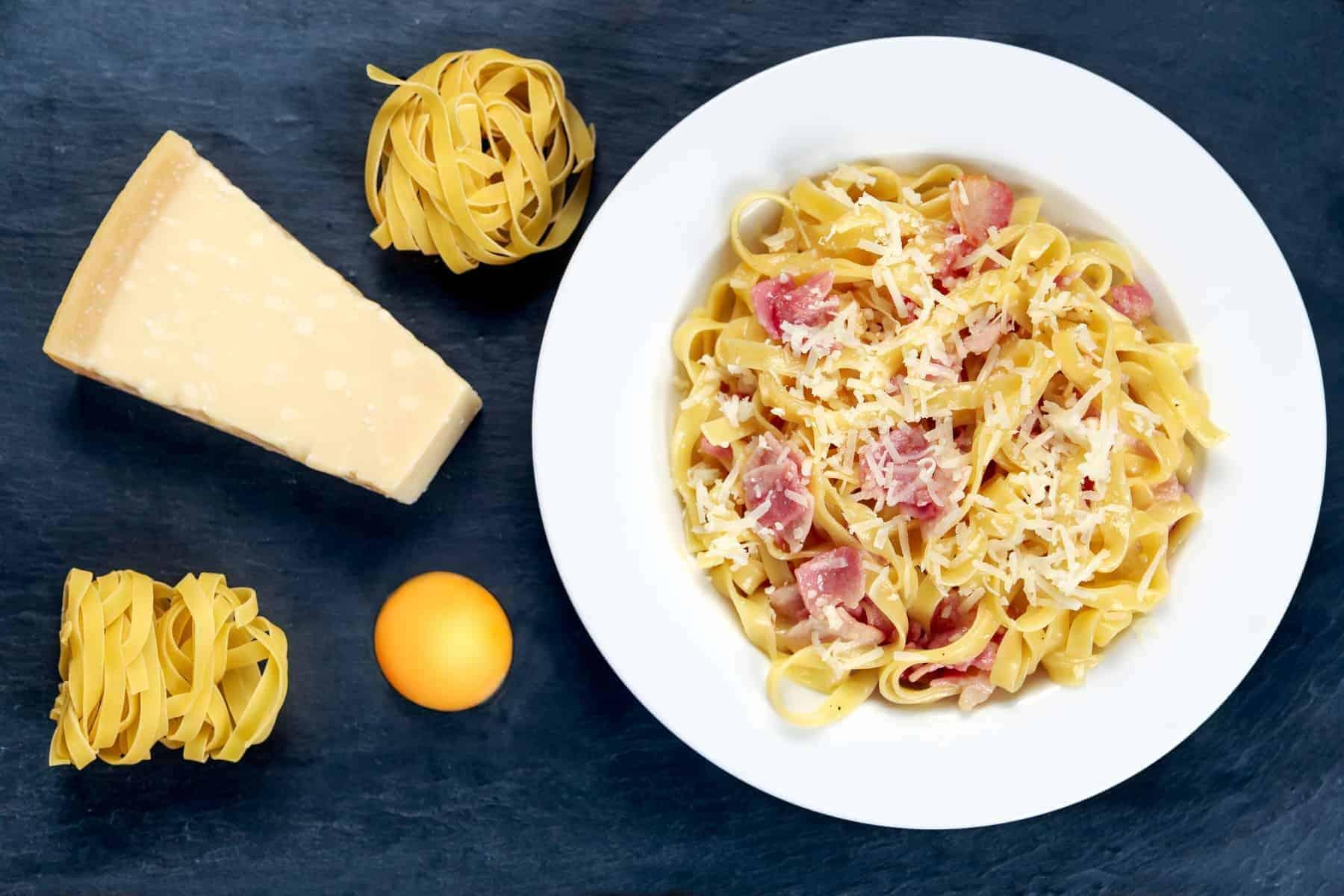 Pasta carbonara Italian. decorated with tagliatelle classic style