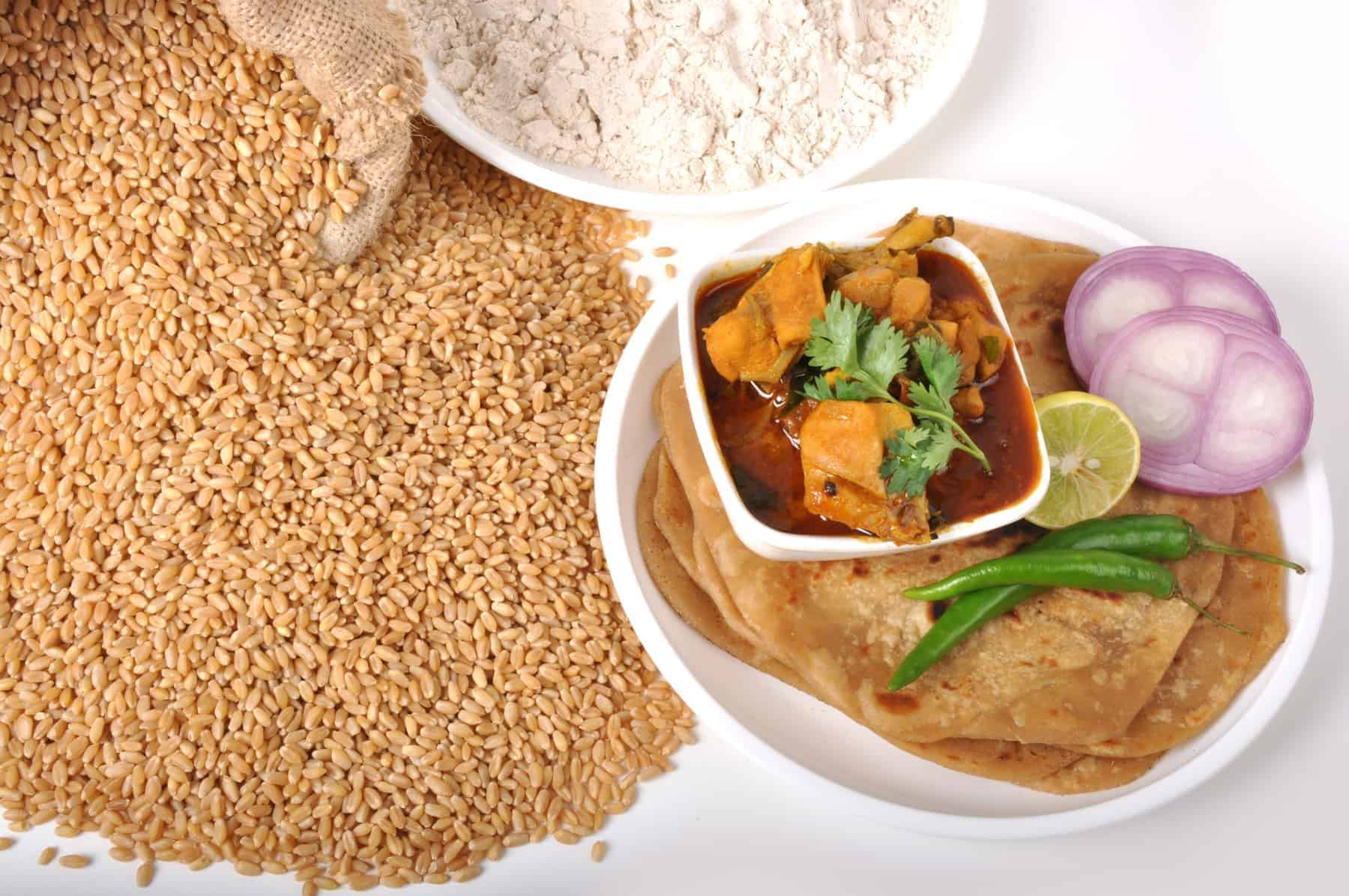 Wheat food - chapati & chicken