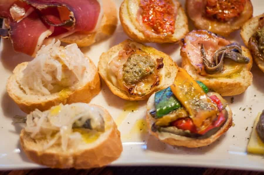 Italian food. Cicchetti are small snacks served in traditional bars called bacari in Venice