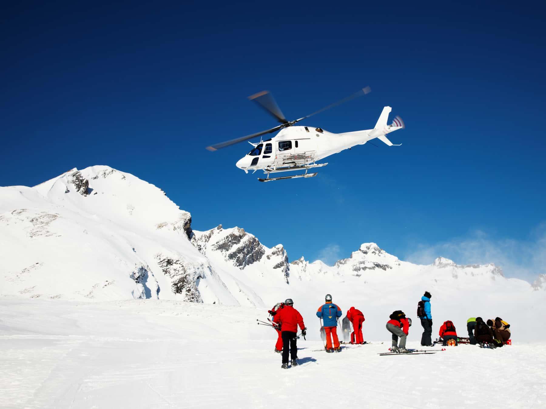 Heli Skiing Helicopter, Mont Blanc ski resort, France, Europe.