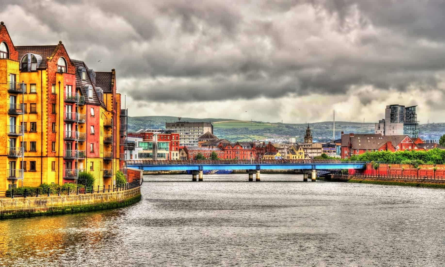 View of Belfast over the river Lagan - Northern Ireland, United Kingdom